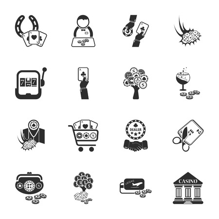 16: gambling, casino 16 icons universal set for web and mobile flat