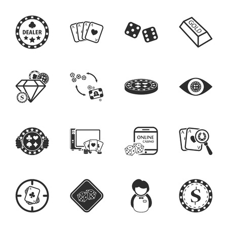 casino dealer: gambling, casino 16 icons universal set for web and mobile flat