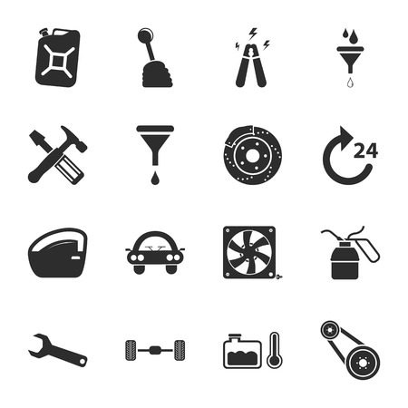16: car repair  16 icons universal set for web and mobile flat