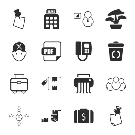 to unload: office 16 icons universal set for web and mobile flat Illustration