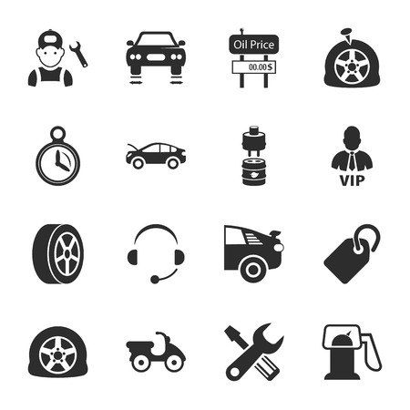 breaking wheel: car repair  16 icons universal set for web and mobile flat