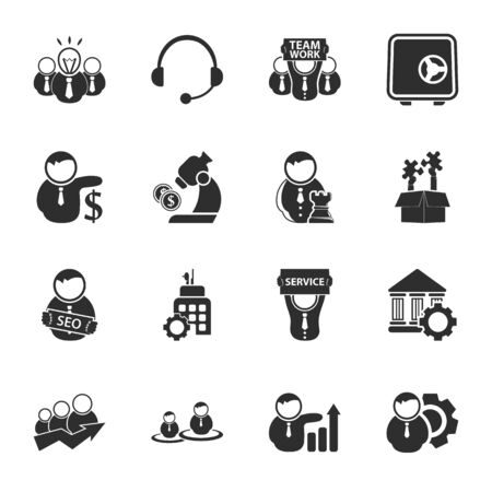 16: bussines, finance 16 icons universal set for web and mobile flat Illustration
