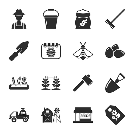 16: farm, gardening 16 icons universal set for web and mobile flat