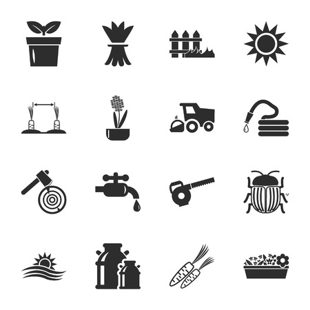 gardening hoses: farm, gardening 16 icons universal set for web and mobile flat