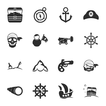 cocked hat: pirate 16 icons universal set for web and mobile flat Illustration