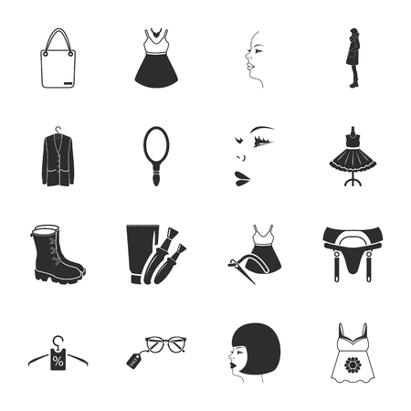 sewing needle: beauty, fashion, shopping  16 icons universal set for web and mobile flat