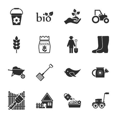 crops: farm, gardening 16 icons universal set for web and mobile flat