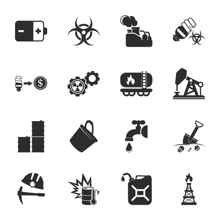 pail tank: industry 16 icons universal set for web and mobile flat Illustration