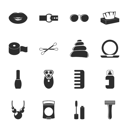 16: fashion, beauty 16 icons universal set for web and mobile flat