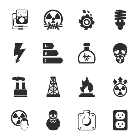 fire wire: industry 16 icons universal set for web and mobile flat Illustration