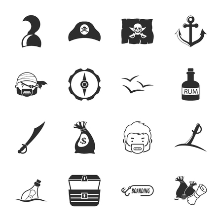 16: pirate 16 icons universal set for web and mobile flat Illustration