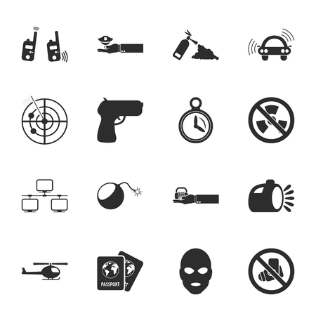 explosive watch: security 16 icons universal set for web and mobile flat Illustration