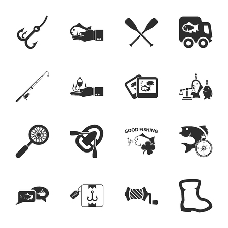 coil car: fishing 16 icons universal set for web and mobile flat