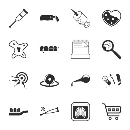 semen: medicine 16 icons universal set for web and mobile flat Illustration