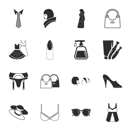 bra: beauty, fashion, shopping  16 icons universal set for web and mobile flat