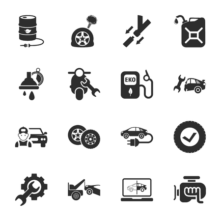 puncture: car repair  16 icons universal set for web and mobile flat