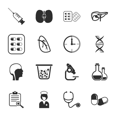 16: Medical 16 icons universal set for web and mobile flat Illustration