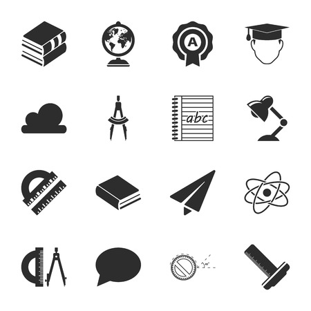 16: school 16 icons universal set for web and mobile flat Illustration