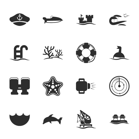 16: sea 16 icons universal set for web and mobile flat