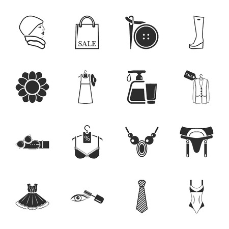 sewing buttons: beauty, fashion, shopping  16 icons universal set for web and mobile flat
