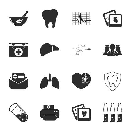 semen: medicine 16 icons universal set for web and mobile flat Illustration