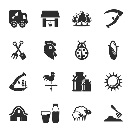 spit: 16 icons universal set for web and mobile flat Illustration