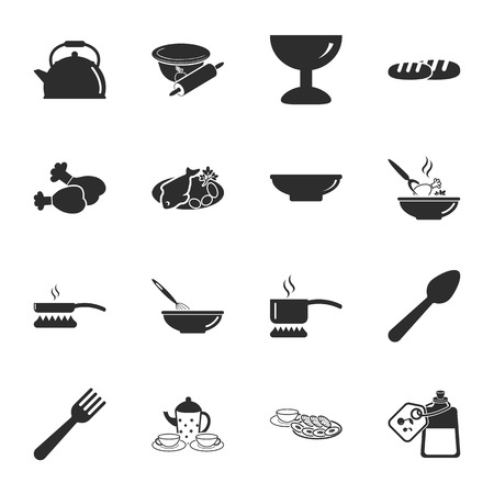 16: kitchen, food  16 icons universal set for web and mobile flat Illustration