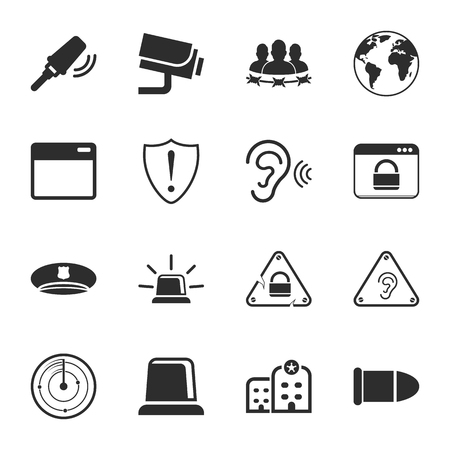 barb wire isolated: security 16 icons universal set for web and mobile flat Illustration