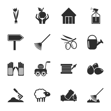mowers: farm, gardening 16 icons universal set for web and mobile flat