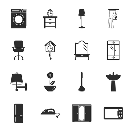 iron curtains: interior, furniture 16 icons universal set for web and mobile flat