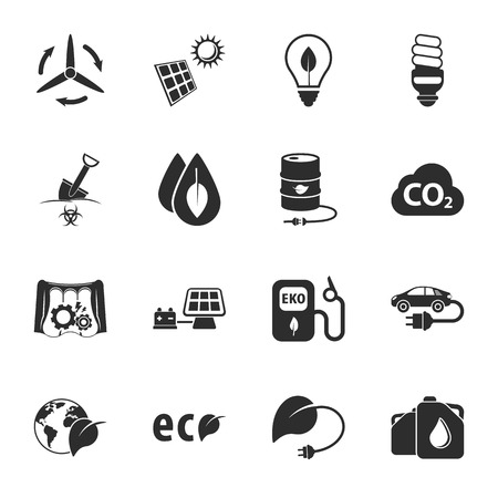 petrol powered: ecology 16 icons universal set for web and mobile flat Illustration
