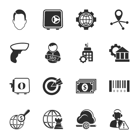 bussines people: bussines, finance 16 icons universal set for web and mobile flat Illustration