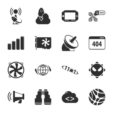 computer: computer, technology 16 icons universal set for web and mobile flat