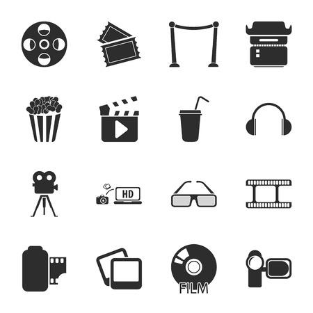 16: cinema, photo 16 icons universal set for web and mobile flat