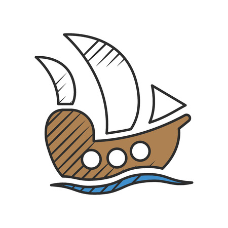 galley: ship icon on white background for web