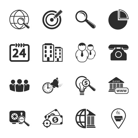 16: business 16 icons universal set for web and mobile flat Illustration