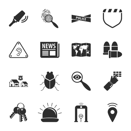 geolocation: security 16 icons universal set for web and mobile flat Illustration