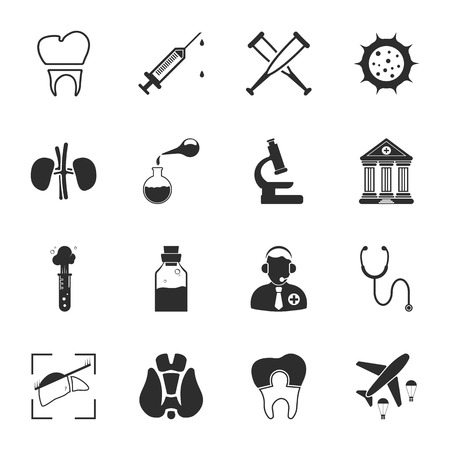 virus: medicine 16 icons universal set for web and mobile flat Illustration