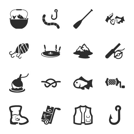 tackle box: fishing 16 icons universal set for web and mobile flat
