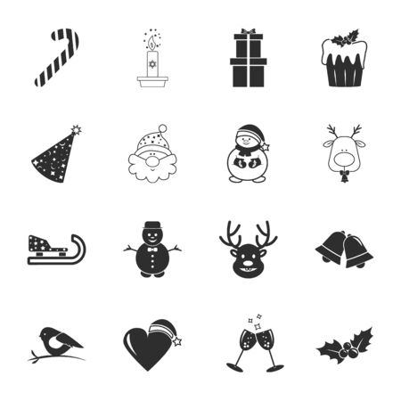16: ?hristmas 16 icons universal set for web and mobile flat