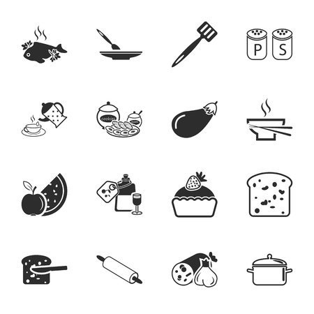 garlic bread: kitchen, food  16 icons universal set for web and mobile flat Illustration