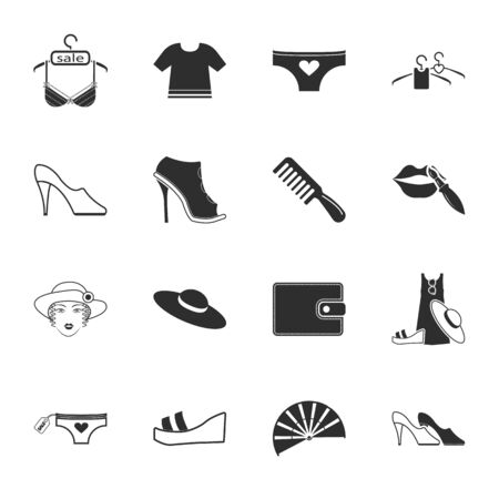 lace bra: beauty, fashion, shopping  16 icons universal set for web and mobile flat