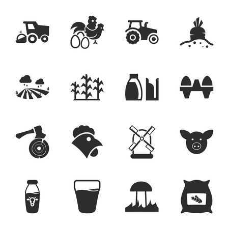 tractor in field: 16 icons universal set for web and mobile flat Illustration