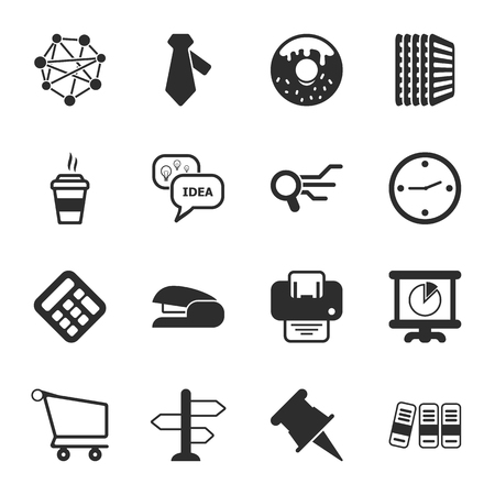 stapler: office 16 icons universal set for web and mobile flat Illustration