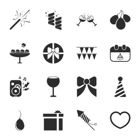 16: party 16 icons universal set for web and mobile flat