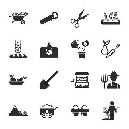 ridges: farm, gardening 16 icons universal set for web and mobile flat