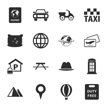 train table: travel 16 icons universal set for web and mobile flat