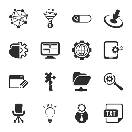 16: 16 icons universal set for web and mobile flat Illustration