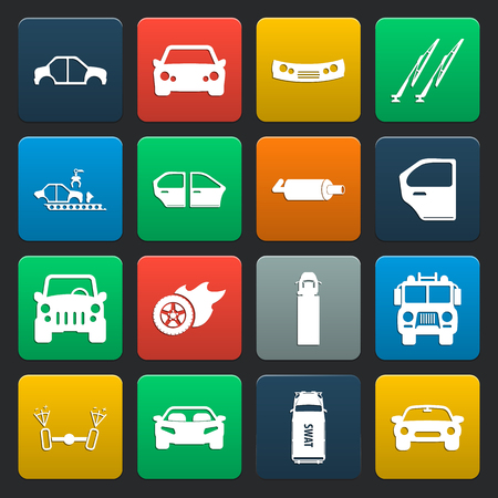 windshield wiper: car, accident 16 simple icons set for web design