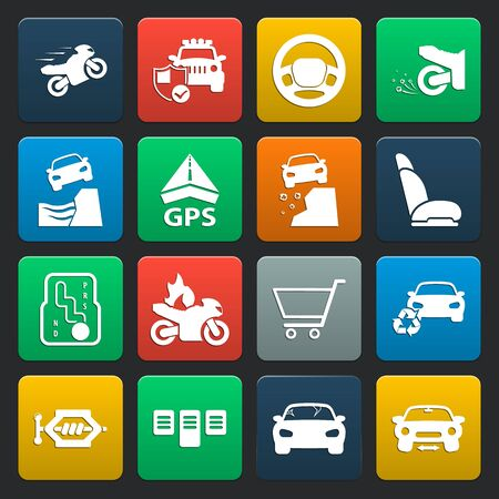 skidding: car, accident 16 simple icons set for web design
